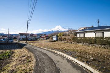 Shimoyoshida village with fuji mountain background, landscape