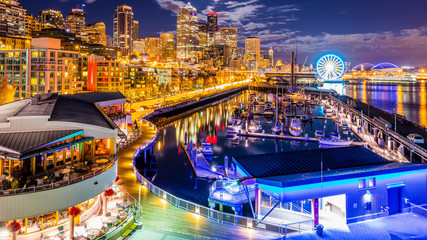 Downtown. Night Seattle from Pier 66
