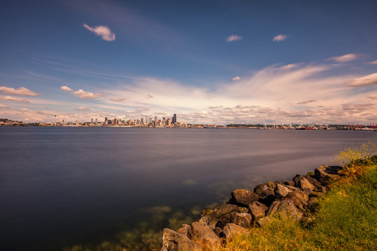 Beautiful view of the city on the horizon. Seattle, from Alki Beach