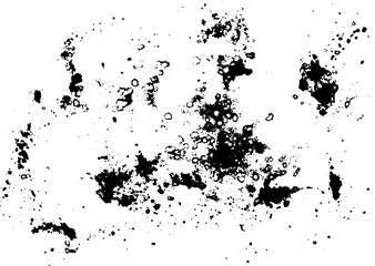Black silhouette spot with droplets, smudges, stains, splashes.
