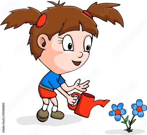 Quot cartoon girl gardening stock image and royalty free
