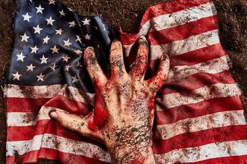 Freedom human hand protect american flag