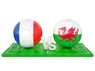 France / Wales soccer game 3d illustration