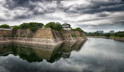 Osaka Castle walls and moat panorama