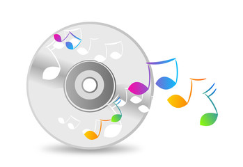 Music cd with colorful notes