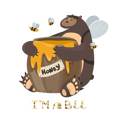 Cute bear with a barrel of honey