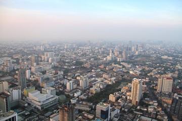 Aerial view of big city at misty morning, Bangkok,Thailand