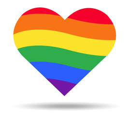 rainbow flag LGBT symbol on heart vector EPS10