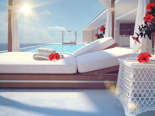 luxury swimming pool with hibiscus flower. color edit. 3d rendering