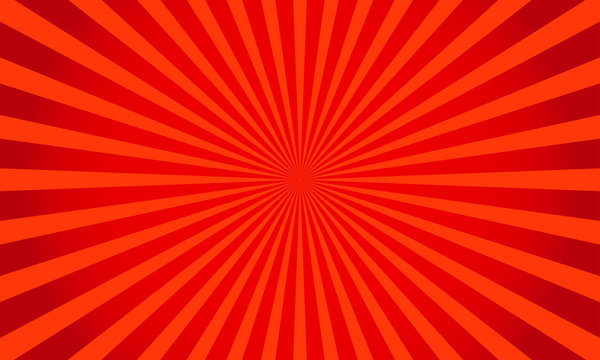 Retro red shiny starburst background. Sunburst abstract texture.Vector illustration.