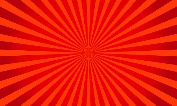 Retro red shiny starburst background. Sunburst abstract texture.Vector illustration.
