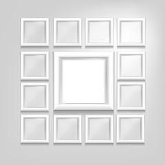white set of frames isolated vector design. Photo frames
