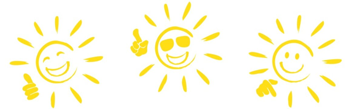 set of happy sun icons with different hand signals