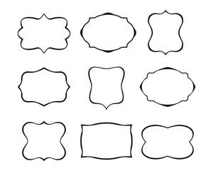 Collection of vintage frames. Label shapes. Vector illustration.