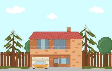 Cottage in nature. Large house with garage.