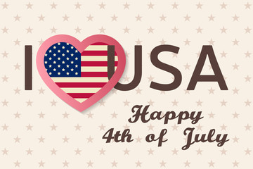 4th of july background. Fourth of July felicitation classic postcard. USA Happy Independence day greeting card. Patriotic banner for website template. Vector illustration.