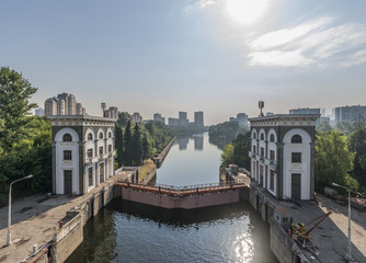 The gateway No. 9 canal. Moscow's Mnevniki.