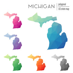Set of vector polygonal Michigan maps. Bright gradient map of the US state in low poly style. Multicolored Michigan map in geometric style for your infographics.