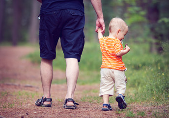 Wall Mural - Father and son walking in the forest