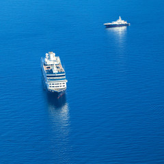 Cruise ship in the Mediterranean Sea. View from above.