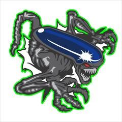 Mascot of Alien break the steel wall