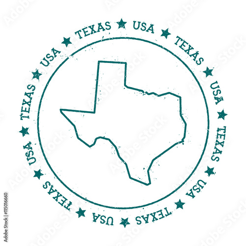 Texas Vector Map Retro Vintage Insignia With Us State Map