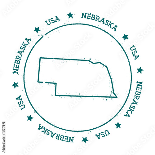 U S State Map Vector.Nebraska Vector Map Retro Vintage Insignia With Us State Map