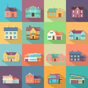 Houses Set. Architecture Variations Flat Design.