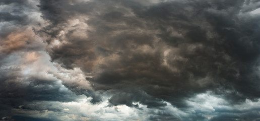 Panorama of a stormy sky