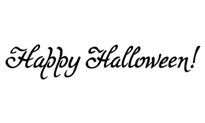 "Artistic drawn phrase ""Happy Halloween!"". Original custom hand lettering. Design element for greeting cards, invitations, prints."