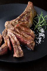 Grilled Beef Steak with salt and rosemary