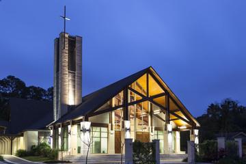 Church illuminated at night