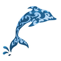Blue ornamental dolphin