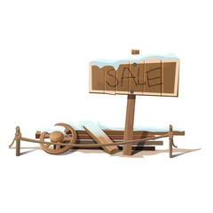 Wooden sign sale in snow and wreckage
