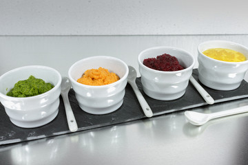 Healthy snacks - four colorful vegetable mousses