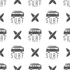 Surfing trip pattern design. Summer seamless  with surfer van, surfboards. Monochrome combi car. Vector illustration. Use for fabric printing, web projects, t-shirts or tee designs