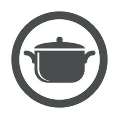 Icono plano olla en circulo color gris