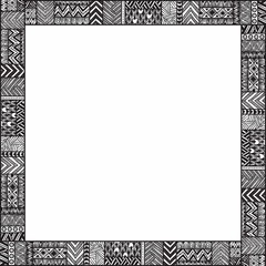 Ethnic frame for your text. Empty space. Black and white illustr