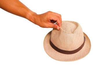 Man hand showing hold hat