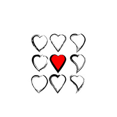 Vector pattern with hand drawn hearts. Black and white texture.