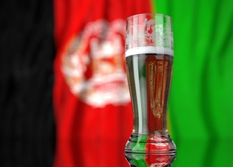 a glass of beer in front a Afghanistan. flag. 3D illustration rendering.