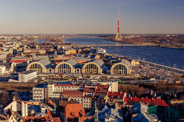 Riga, Latvia: aerial view of Old Town