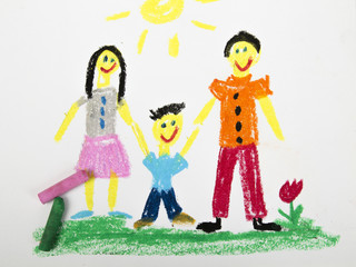oil pastels drawing: happy family