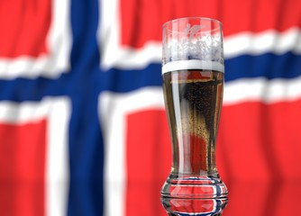 a glass of beer in front a Norwegian flag. 3D illustration rendering.