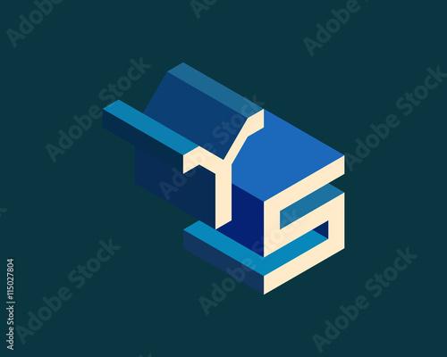 YS Isometric 3D Letter Logo Three Dimensional Stock Vector Alphabet Font Typography Design