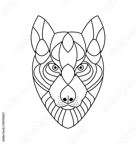Wolf head vector for coloring book testa di lupo for Immagini di lupi da colorare