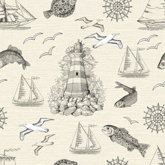Seamless background with lighthouse, fish, gulls and boats