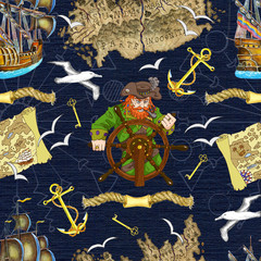 Seamless background with pirate captain looking for treasures