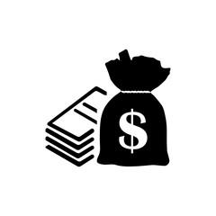Money icon. Black icon on white background.