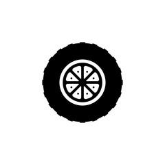 Wheel vector icon. Black icon on white background.